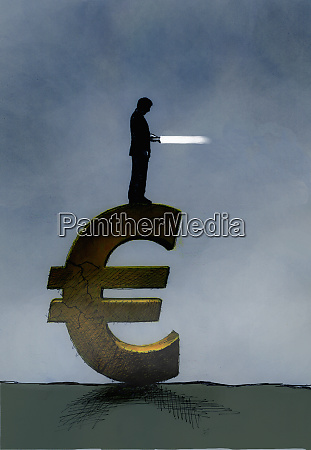 businessman with flashlight standing on euro