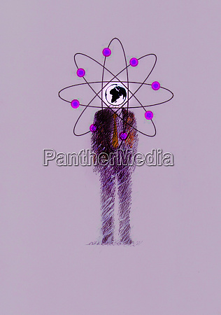 businessman with atom symbol circling globe