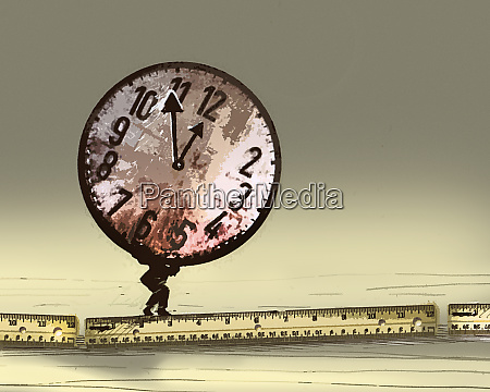 businessman struggling underneath large heavy clock