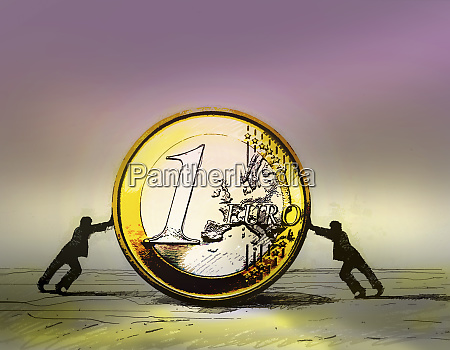 two businessmen pushing large euro coin