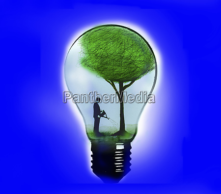 businessman watering green tree inside light