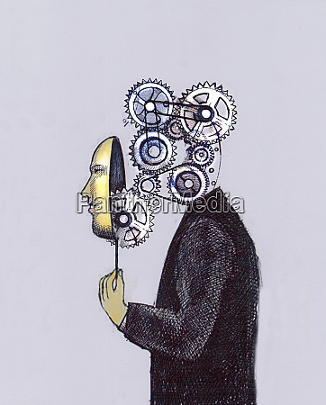 human face mask concealing complex cogs