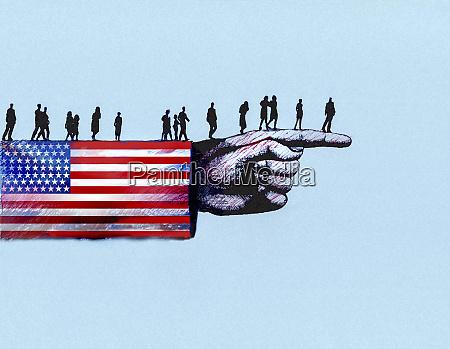 people walking along arm in united