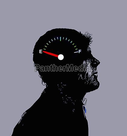 gauge on empty inside of mans