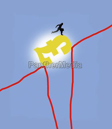 businessman bridging the gap in line