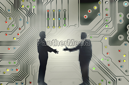 man shaking hands with pixellated businessman