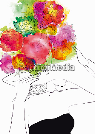 glamorous woman wearing ornate flower hat
