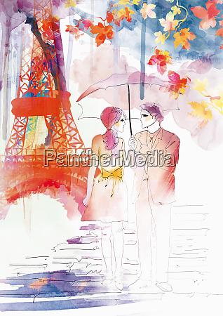 romantic couple walking in autumn under