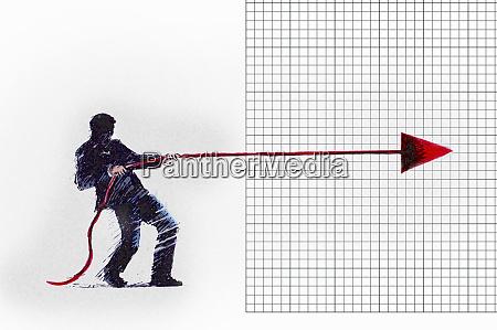 businessman restraining arrow from advancing on