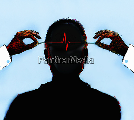 hands holding pulse trace inside of