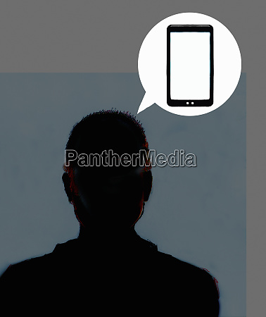 silhouette of mans head talking with