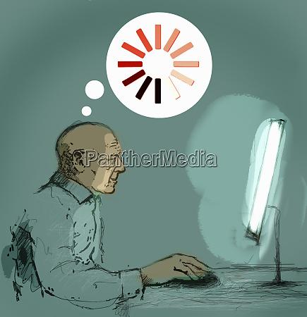 seniorenmann, mit, desktop-computer, und, gedanken, über - 26008718