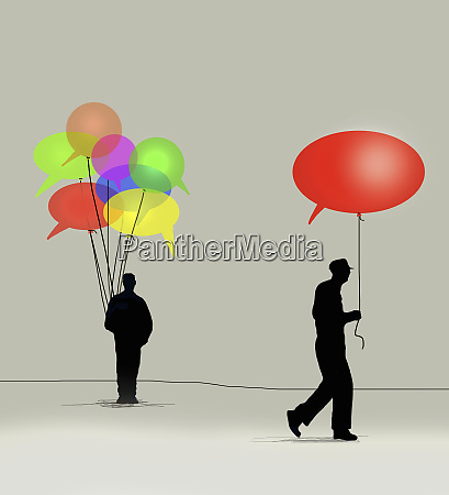 man taking speech bubble balloon from