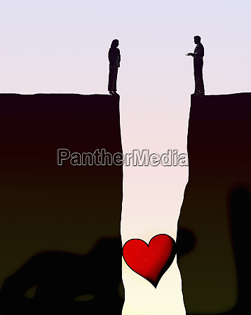 heart stuck in gap between couple