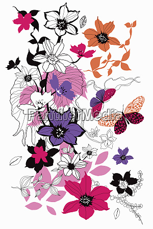drawing of flowers leaves and butterflies