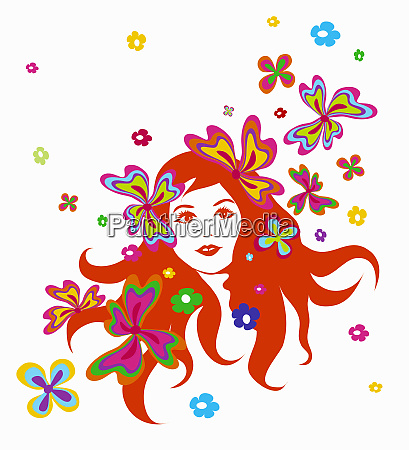 flowers around womans face
