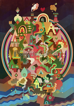 multicolored psychedelic abstract of city