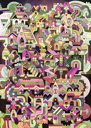 multicolored abstract of houses