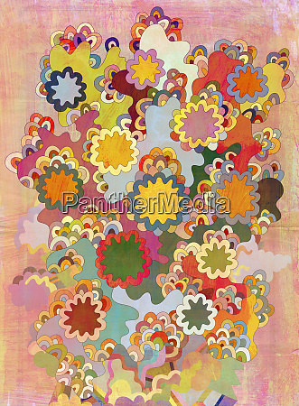 multicolored psychedelic abstract of flowers