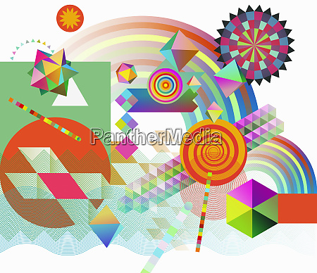 abstract multicolored geometric shape pattern