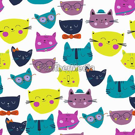 montage von vielen niedlichen katzengesichtern
