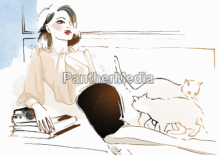 stylish woman lounging on sofa with