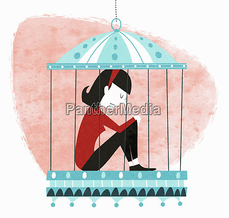 unhappy woman sitting in birdcage