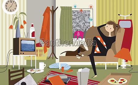 faule frau und hund beim fernsehen