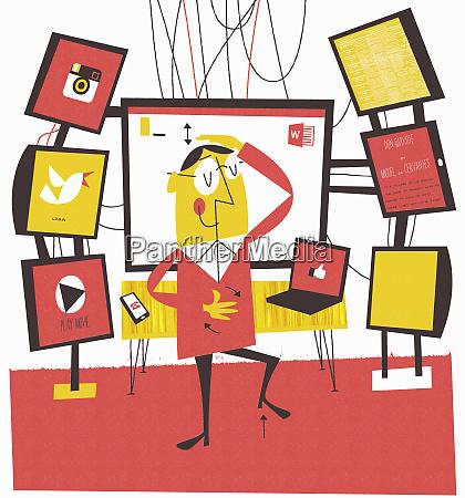 man multi tasking using computer technology