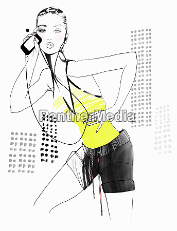 portrait of fit woman with mp3