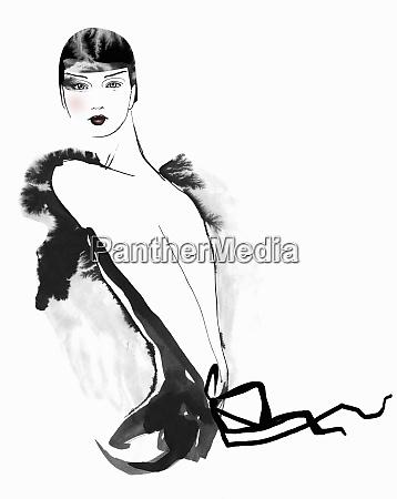 portrait of glamorous woman wearing backless