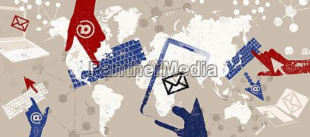 e mail und globale kommunikations montage