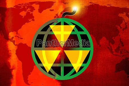 globe als bombe mit beleuchteter sicherung