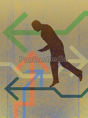 businessman walking arrow tightrope