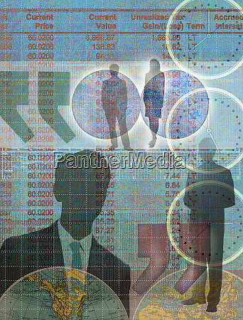 montage of business people financial figures
