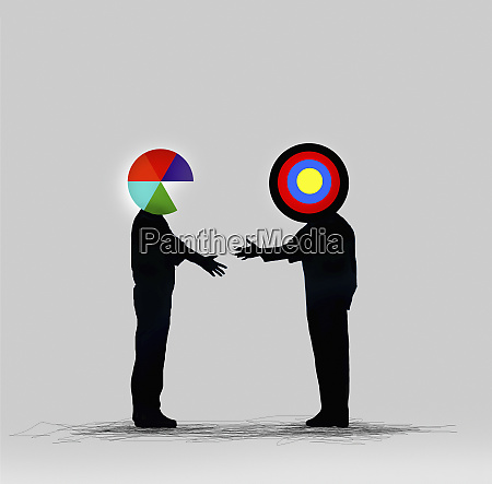pie chart businessman shaking hands with