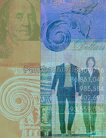 business people in banking collage with
