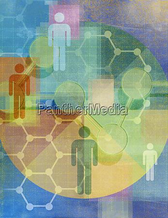 molekuele und hexagon netzwerk muster verbinden
