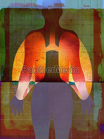 partikel in gluehenden lungen ueber silhouette