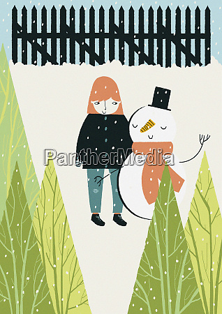 girl and snowman standing together in