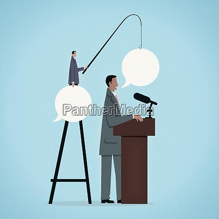 businessman feeding speaker speech bubbles with