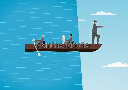blindgefaltete mann fuehrt boot mit kollegen