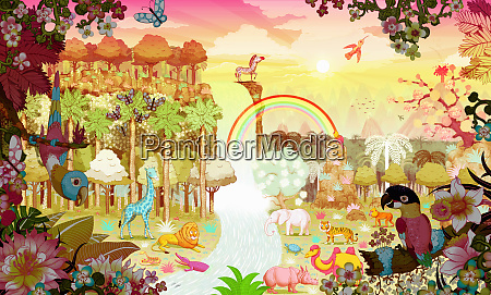 abundant colorful tropical jungle at sunrise