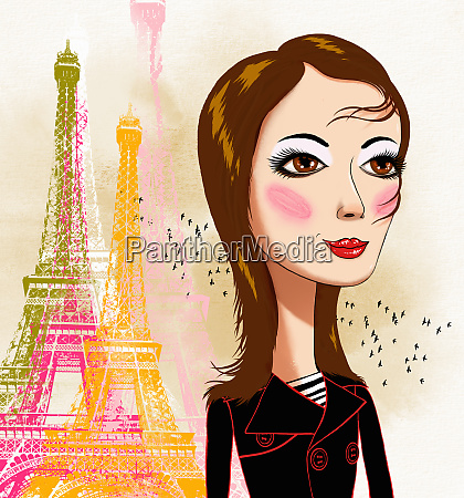 young woman with eiffel tower in