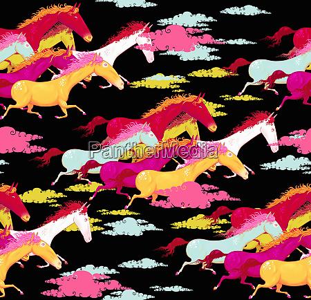 full frame pattern of multicolored horses