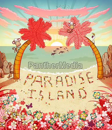 paradise island written in pebbles on