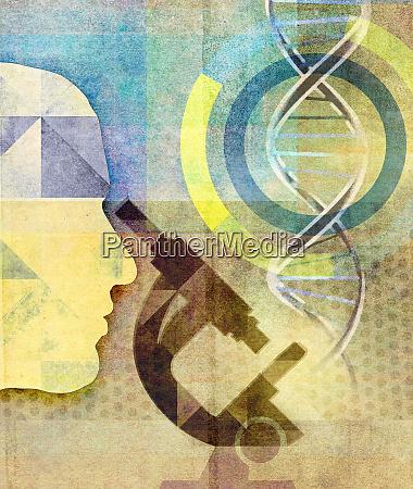 scientist looking through microscope in genetic