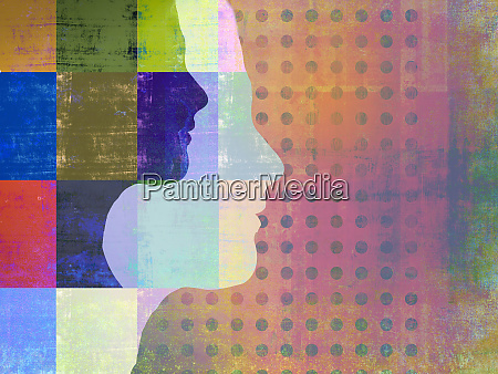 womans profiles superimposed on abstract pattern