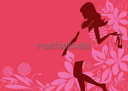 glamorous woman silhouette holding high heel