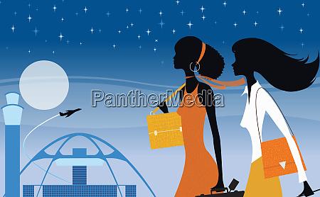 elegant women walking outside los angeles